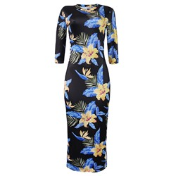 Shoespie Floral Print Pullover Women's Bodycon Dress