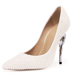 White Beads Pointed Toe Stiletto Heels