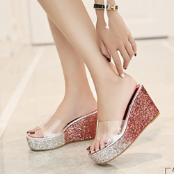 Sequin Jelly Wedge Sandals
