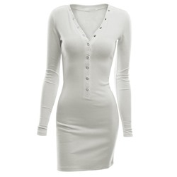 Shoespie Plain Button Women's Bodycon Dress