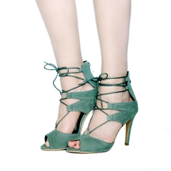 Green Cross Strap Zipper Stiletto Heels