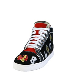 Black Embroidery High Upper Sneakers
