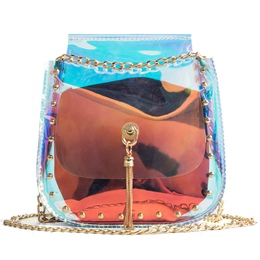 Shoespie Rivets Adornment PVC Chain Jelly Crossbody Bag