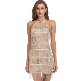 Shoespie Tassel Backless Patchwork Women's Bodycon Dress