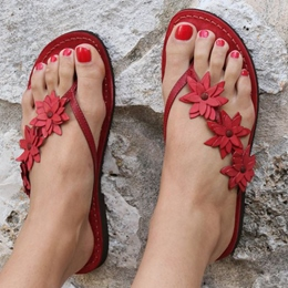 Red Appliques Thong Flat Sandals