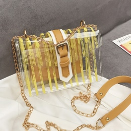 Shoespie PVC Stripe Belt-Decorated Crossbody Bag