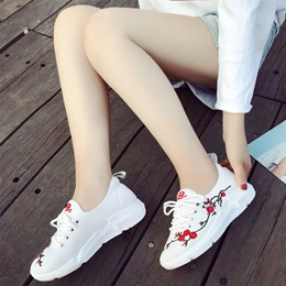 White Embroidery Lace-Up Women's Sneaker