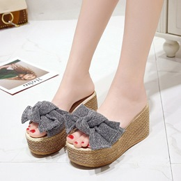 Casual Bow Flip Flop Wedge Sandals