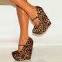 Leopard Buckle Wedge Shoes