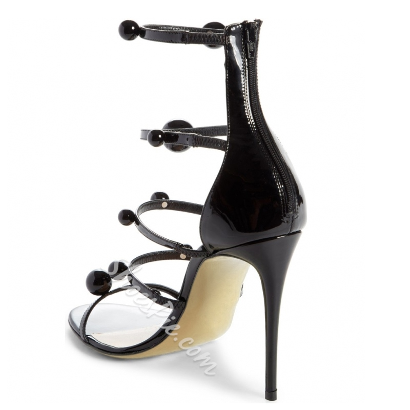 Black Beads Zipper Stiletto Heels