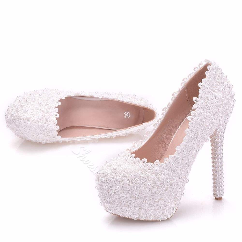 Shoespie Sexy Appliques Round Toe Stiletto Heel Wedding Bridal Shoes