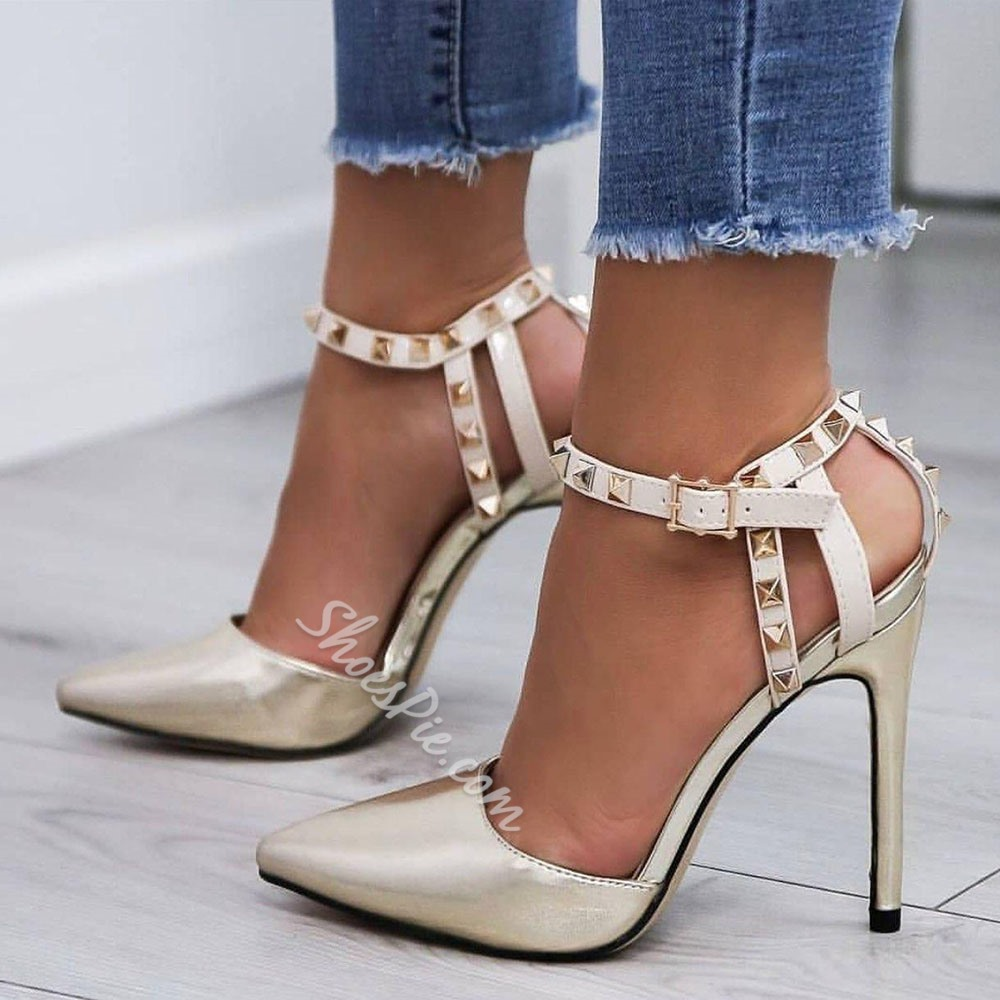 White Rivet Buckle Pointed Toe Stiletto Heels