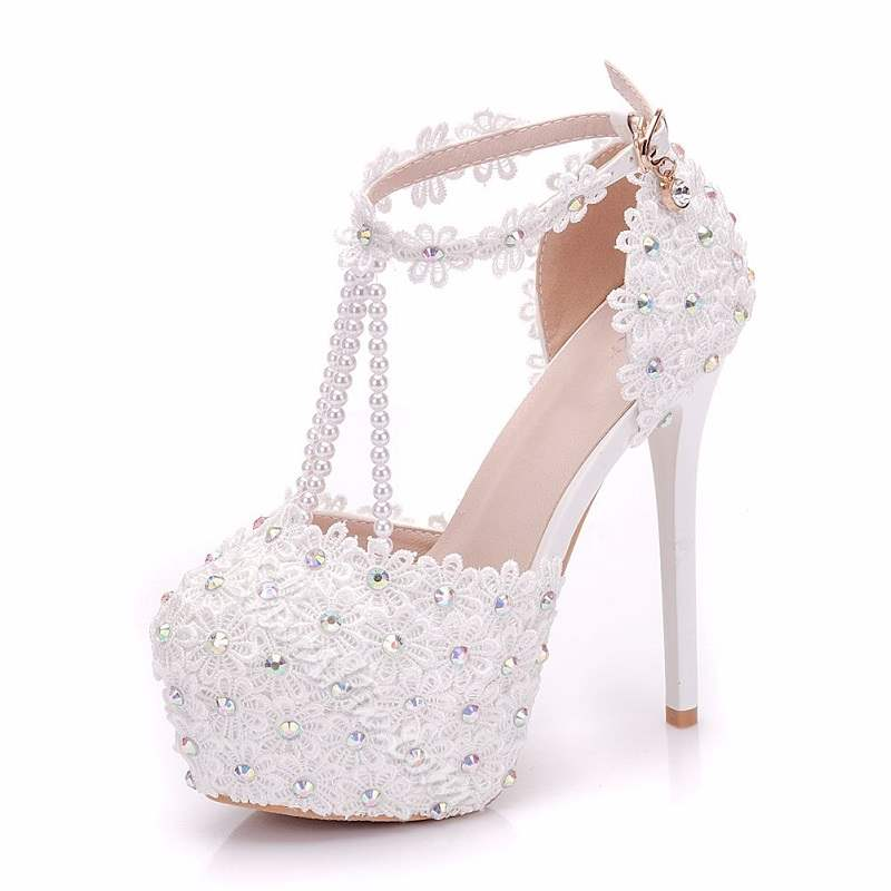 Shoespie Stylish Round Toe Appliques Stiletto Heel Wedding Bridal Shoes