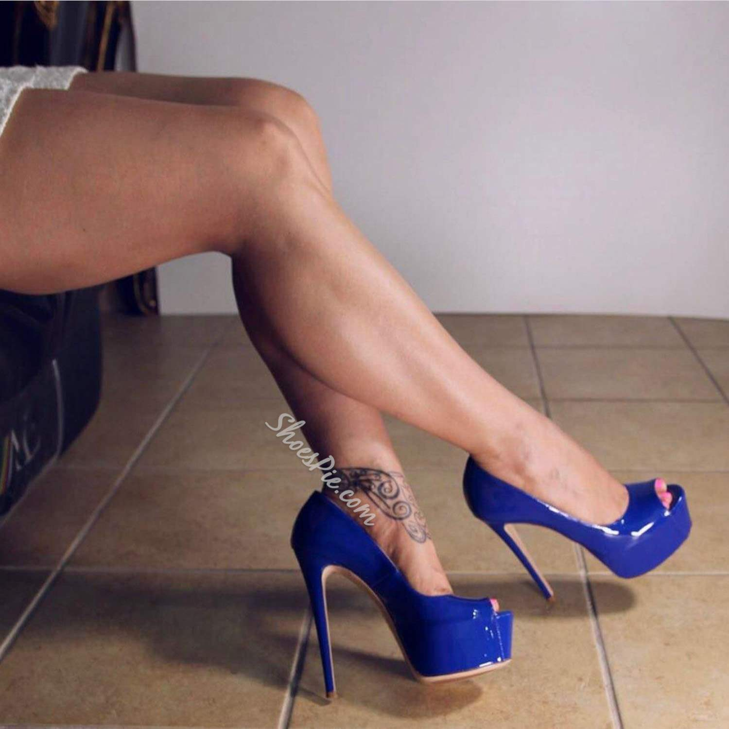 Blue Peep Toe Banquet Stiletto Heels