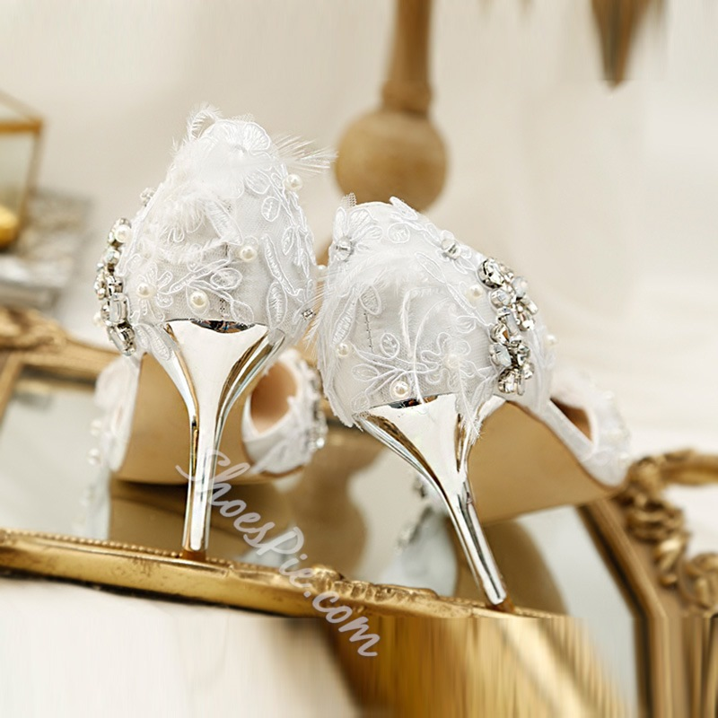 White Rhinestone Beads Stiletto Wedding Shoes