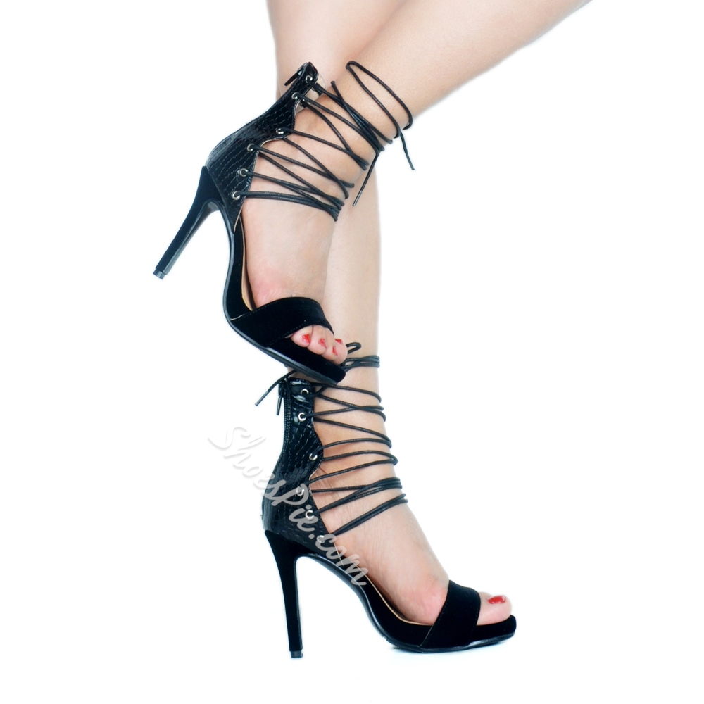 Black Banquet Zipper Stiletto Heels