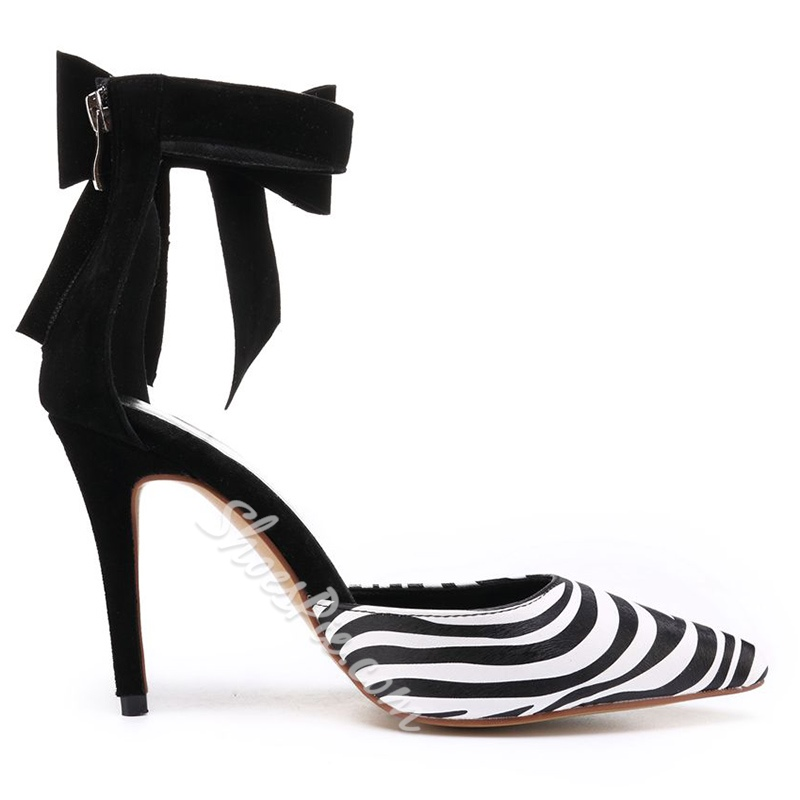 Zebra Bow Pointed Toe Stiletto Heels