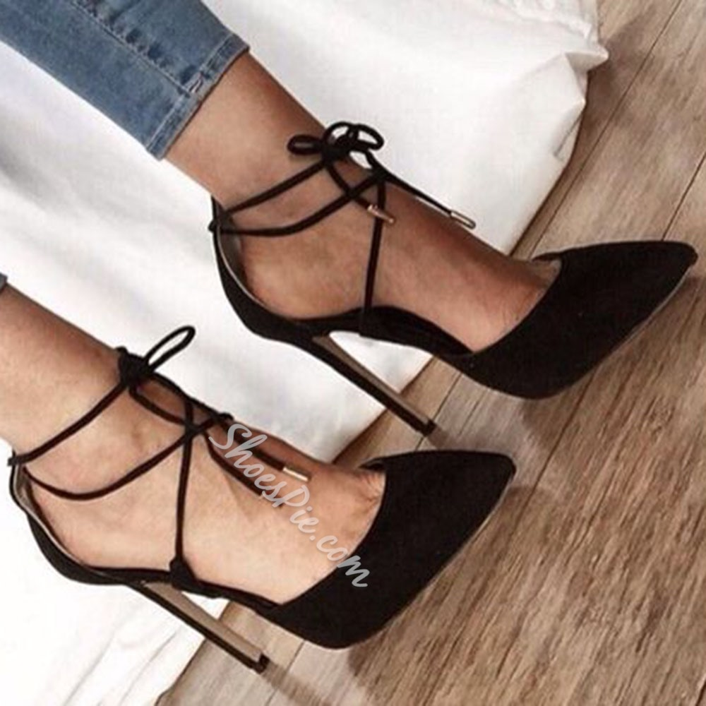 Black Pointed Toe Stiletto Heel Lace-Up Pumps