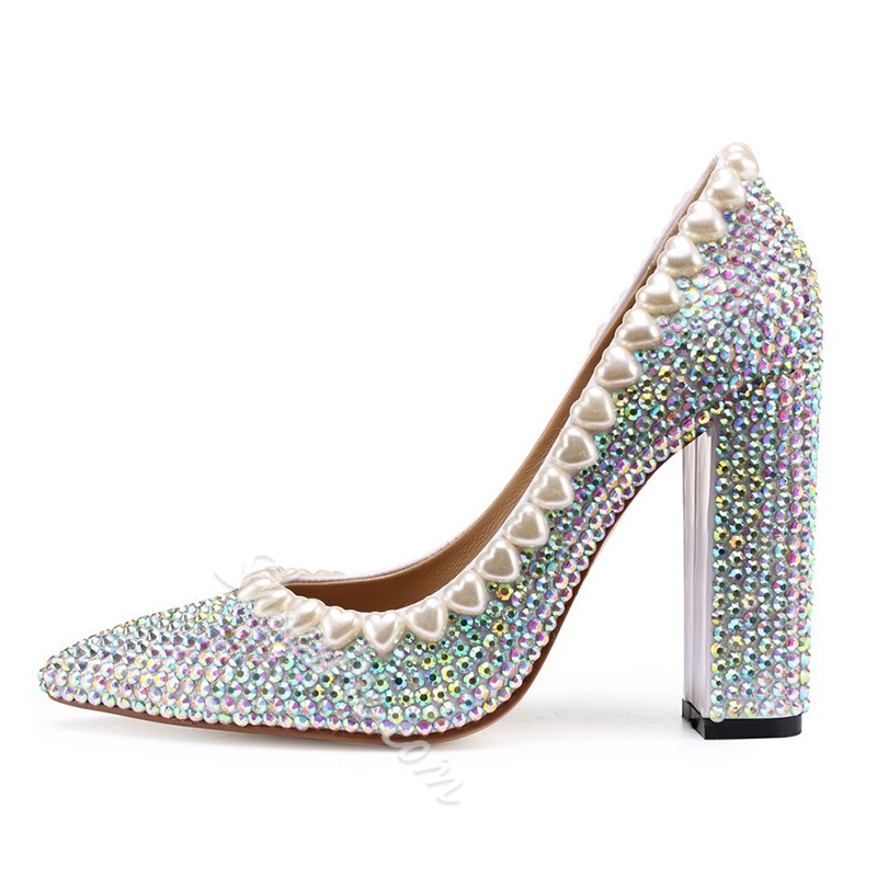 Beads Silver Pointed Toe High Heels