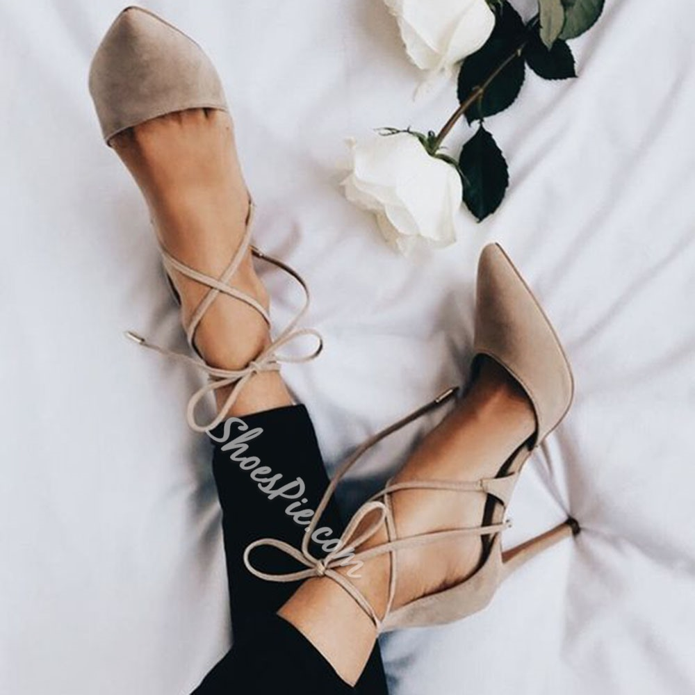 Gray Suede Pointed Toe Lace-Up Stiletto Heels