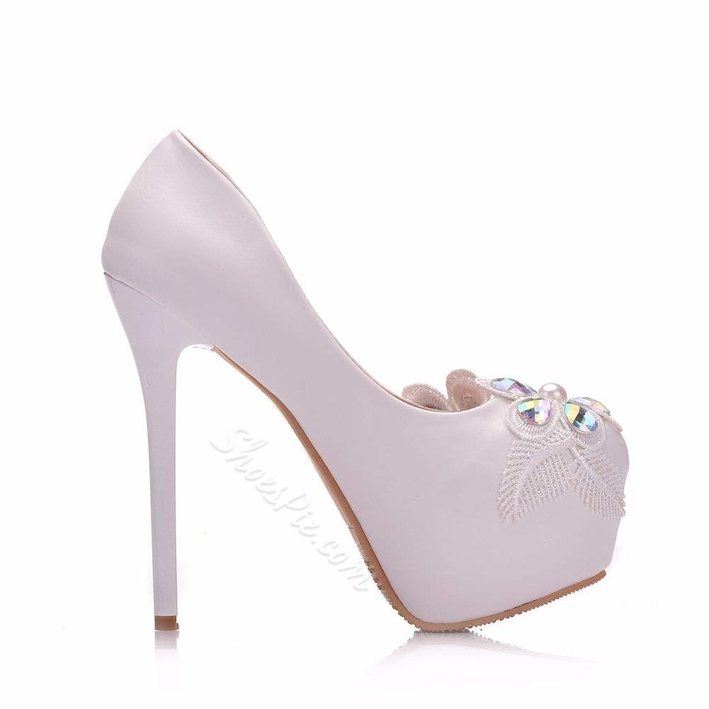 Shoespie Trendy Slip-On Rhinestone Round Toe Wedding Bridal Shoes