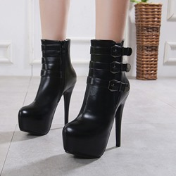 Sexy Black Buckle Platform Stiletto Heel Ankle Boots