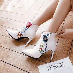 Shoespie Pointed Toe Embroidered Ankle Boots
