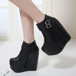 Black Buckle Side Zipper Ankle Boots
