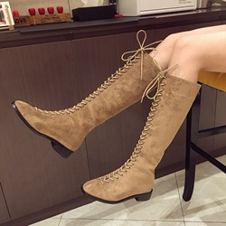 Cross Strap Back Zip Round Toe Knee High Boots