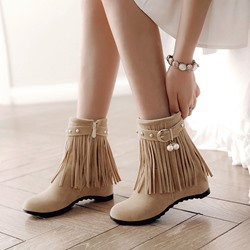 Fringe Buckle Casual Suede Ankle Boots