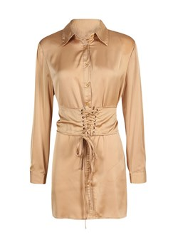 Shoespie Camel Lace-Up Plusee Women's Bodycon Dress