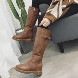 Buckle Casual Hidden Heel Knee High Boots