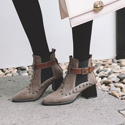 Shoespie Pointed Toe Rivet Ankle Boots