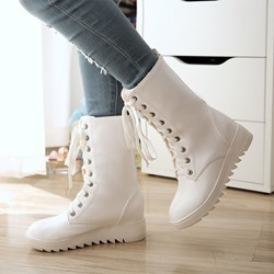 Shoespie Platform Lace-Up Hidden Heel Flat Boots