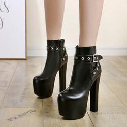Black Sexy Platform Buckle Ankle Boots