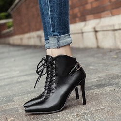 Black Cross Strap Buckle Casual Ankle Boots