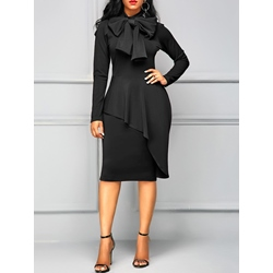 Falbala Bowknot Office Lady Women's Bodycon Dress