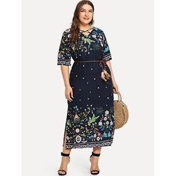 Shoespie Print V Neck Floral Women's Maxi Dress