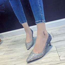 Blue Sequin Slip-On Pointed Toe Low Heels