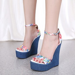 Blue Floral Platform Print Wedge Sandals