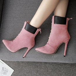 Shoespie Pointed Toe Casual Cross Strap Ankle Boots