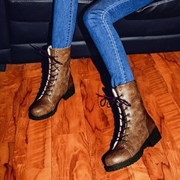 Casual Lace-Up Platform Ankle Boots