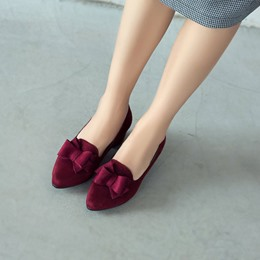 Bow Pointed Toe Slip-On Low Heels