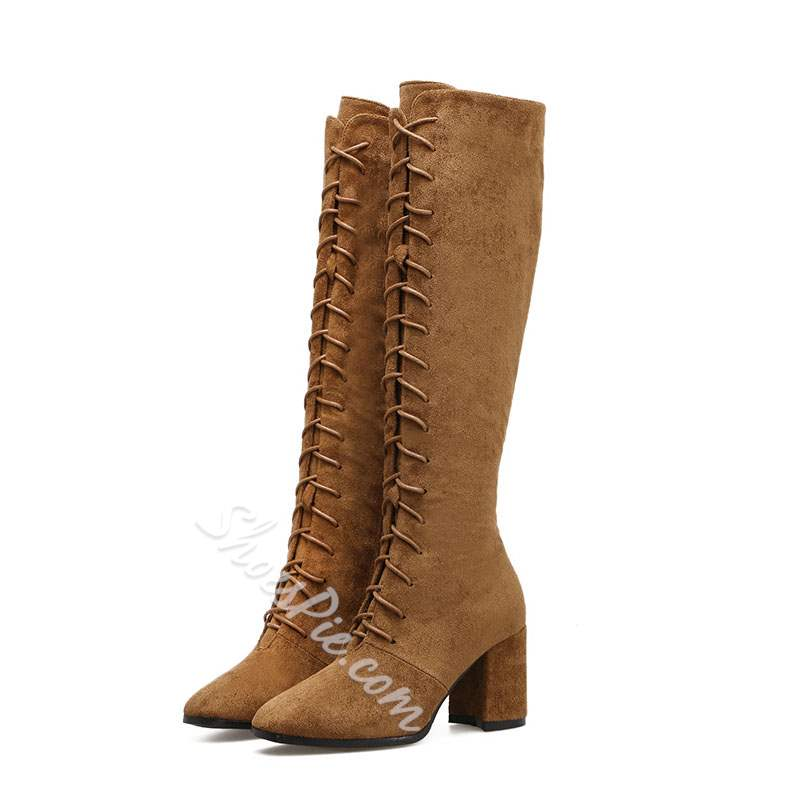 Suede Cross Strap Casual Knee High Boots