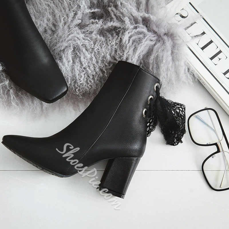 Shoespie Lace Square Toe Casual Ankle Boots
