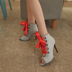 Lace-Up Casual Peep Toe Ankle Boots