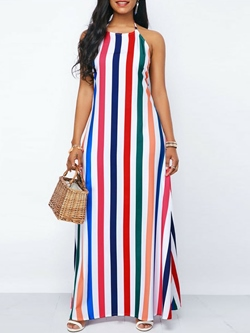 Shoespie Stripe Backless Sexy Women's Maxi Dress