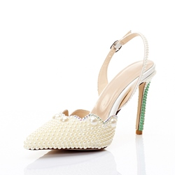 Beads White Closed Toe Slingback Strap Wedding Shoes