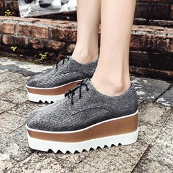 Shoespie Sequin Platform Casual Lace-Up Sneakers