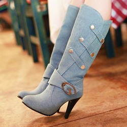 Shoespie Denim Blue Beads Buckle Knee High Boots